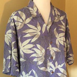 TOMMY BAHAMA sz LARGE 100%silk Hawaiian Buttn $125